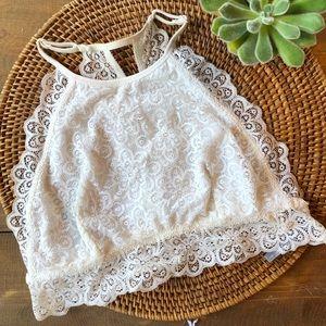 AERIE Halter High Neck White Lace Bralette